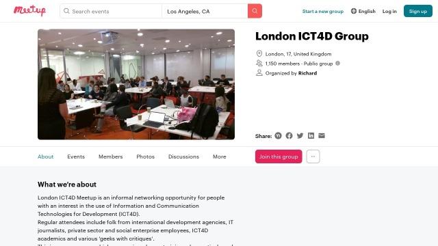Screenshot of www.meetup.com