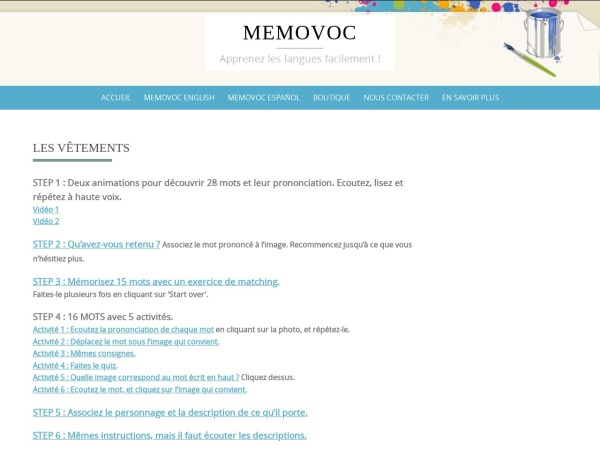 Screenshot of www.memovoc.com