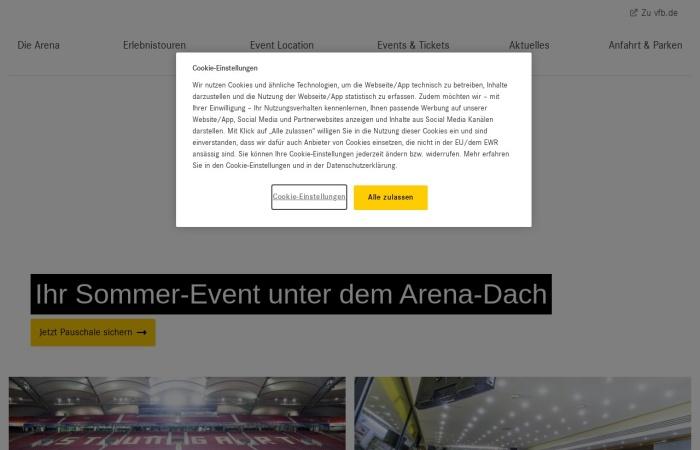 Screenshot von www.mercedes-benz-arena-stuttgart.de