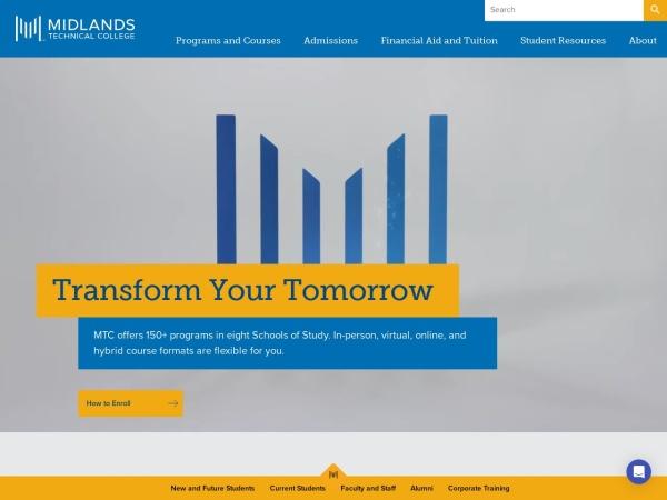 Screenshot of www.midlandstech.edu