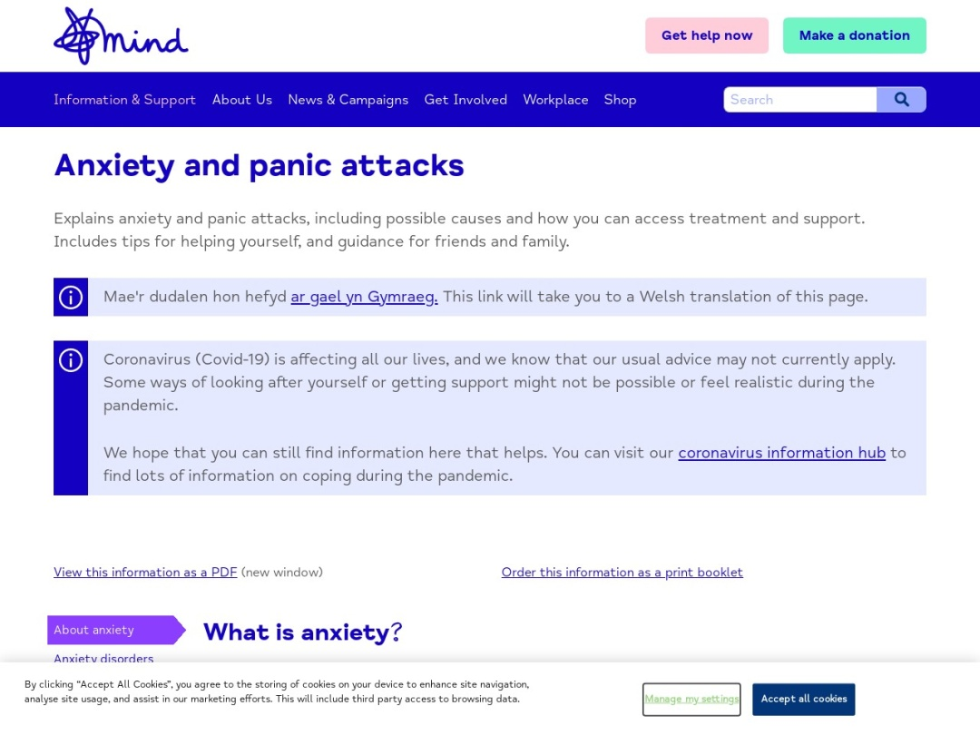 Screenshot of www.mind.org.uk