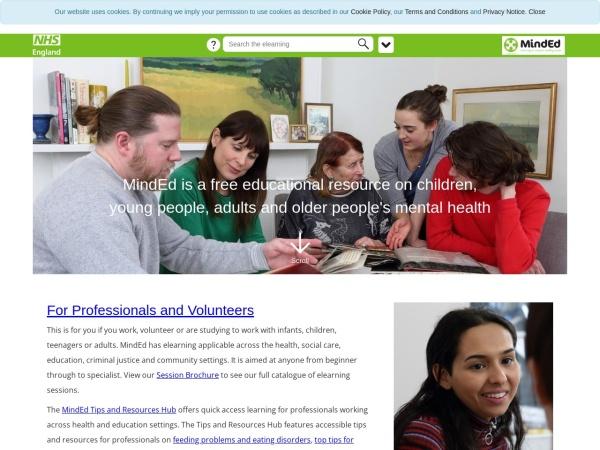 Screenshot of www.minded.org.uk