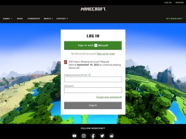 Captura de pantalla de www.minecraft.net