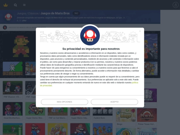 Captura de pantalla de www.minijuegos.com