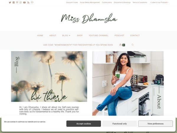 Screenshot of www.missdhanusha.co.za