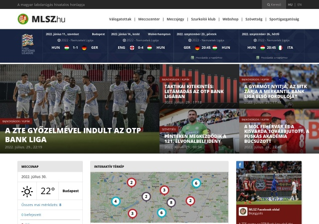Screenshot of www.mlsz.hu