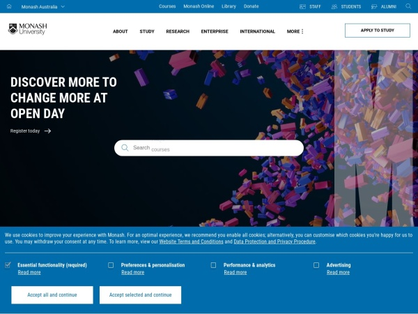 Screenshot of www.monash.edu