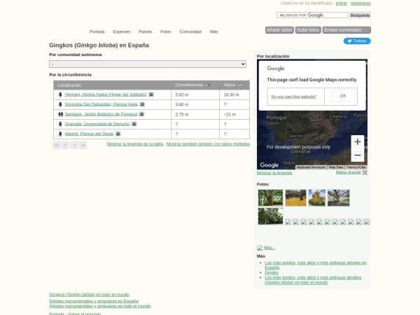 Captura de pantalla de www.monumentaltrees.com