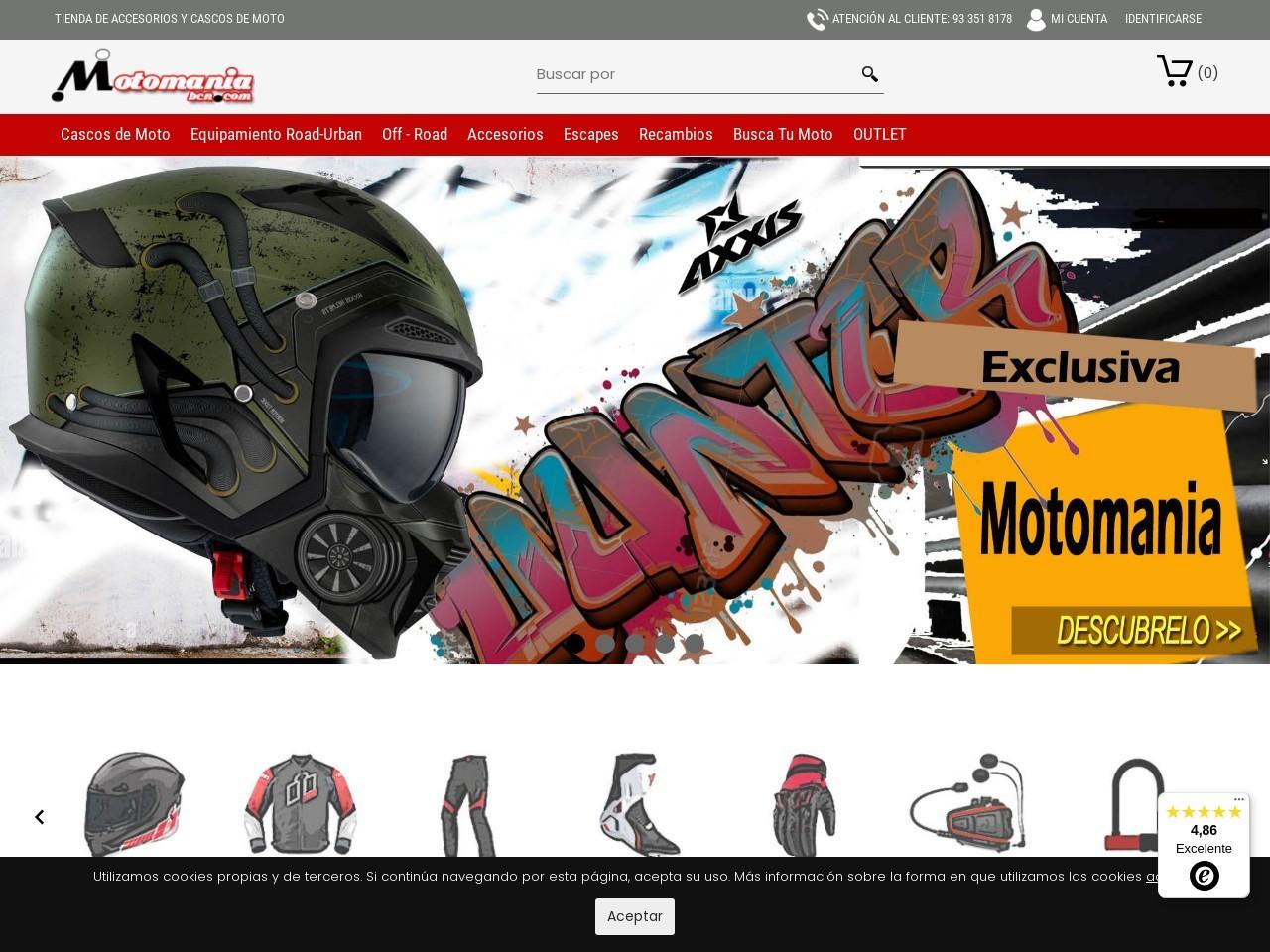 Captura de pantalla de www.motomaniabcn.com
