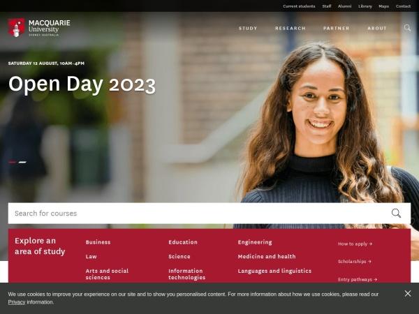 Screenshot of www.mq.edu.au