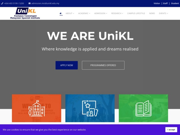 Screenshot of www.msi.unikl.edu.my