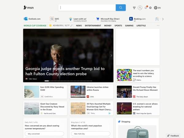 Captura de pantalla de www.msn.com