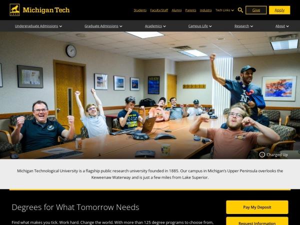 Screenshot of www.mtu.edu