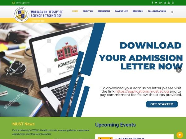 Screenshot of www.must.ac.ug