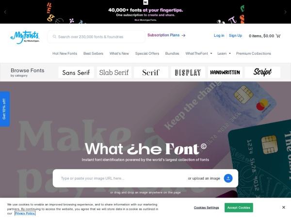 Screenshot of www.myfonts.com