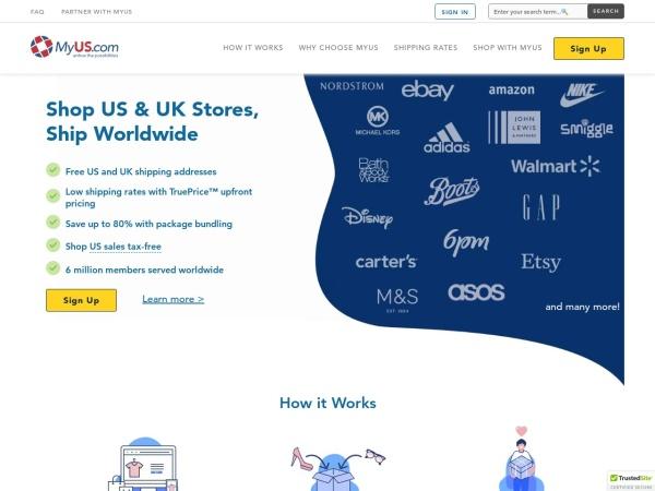 Screenshot of www.myus.com