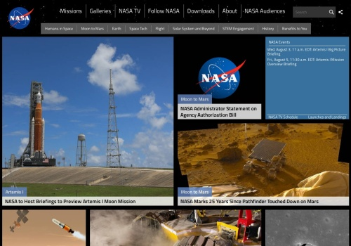 Screenshot of www.nasa.gov