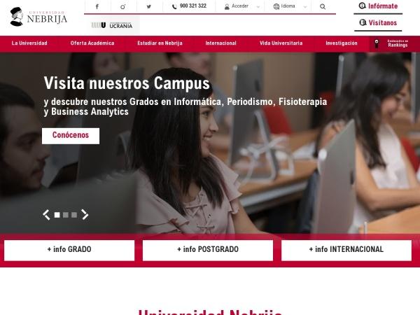 Screenshot of www.nebrija.com