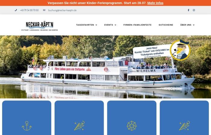 Screenshot von www.neckar-kaeptn.de