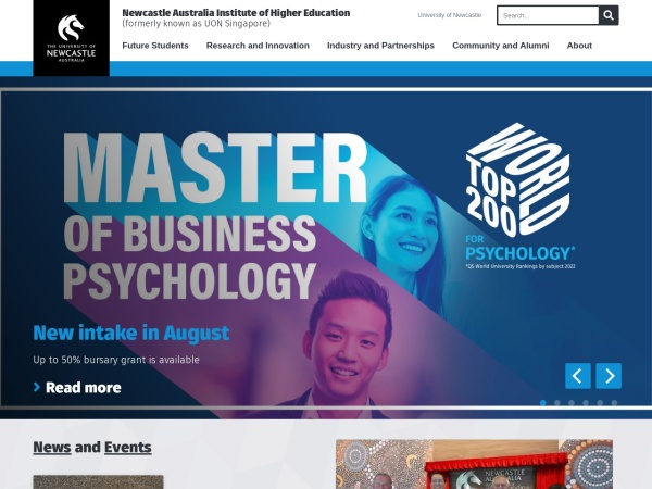 Screenshot of www.newcastle.edu.au