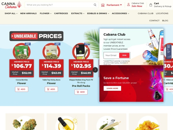 Screenshot of www.newleafcannabis.ca