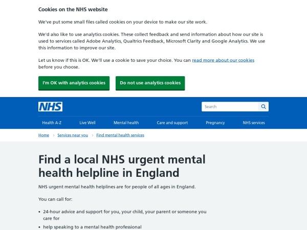 Screenshot of www.nhs.uk