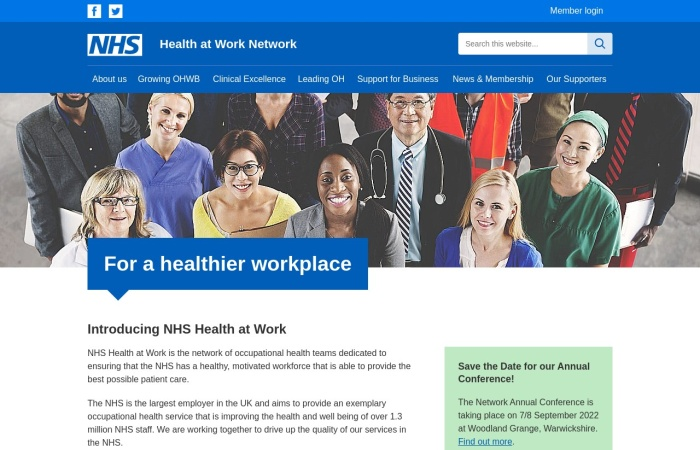 Screenshot of www.nhshealthatwork.co.uk