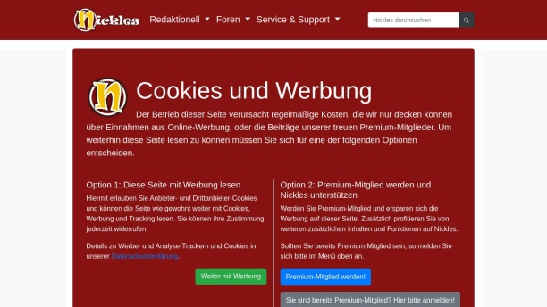 Screenshot of www.nickles.de