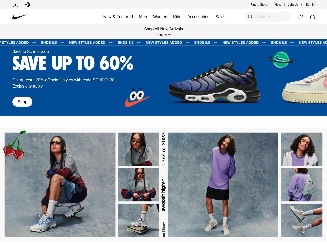 Captura de pantalla de www.nike.com