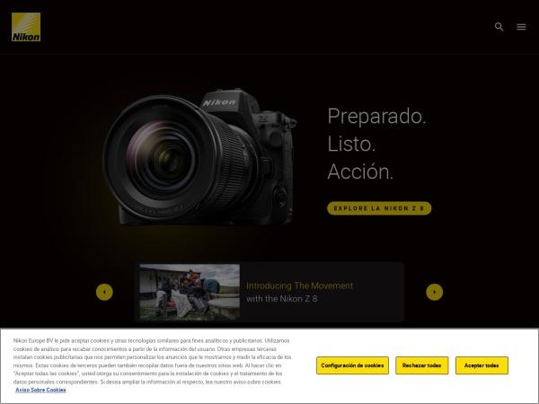 Captura de pantalla de www.nikon.es