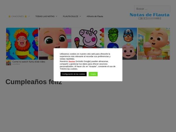 Captura de pantalla de www.notasdeflauta.com
