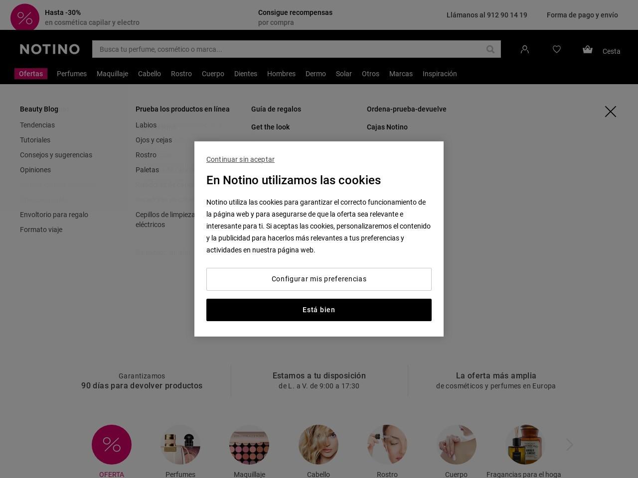 Captura de pantalla de www.notino.es