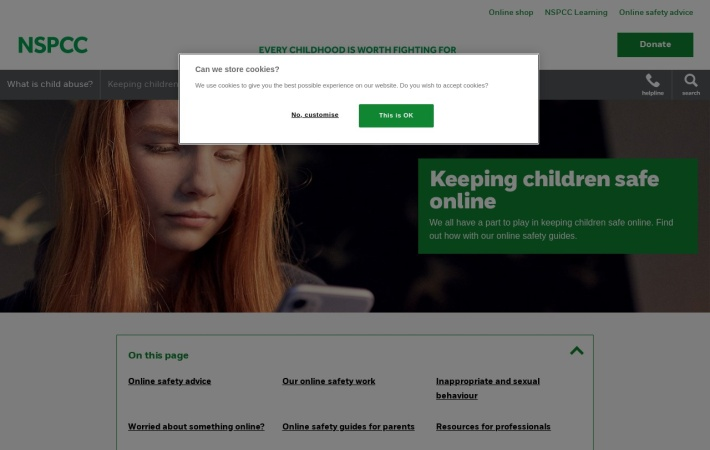 Screenshot of www.nspcc.org.uk