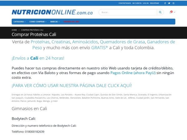 Captura de pantalla de www.nutriciononline.com.co