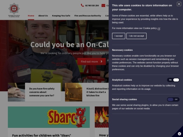 Screenshot of www.nwales-fireservice.org.uk
