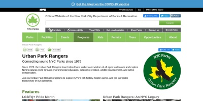 Screenshot of www.nycgovparks.org