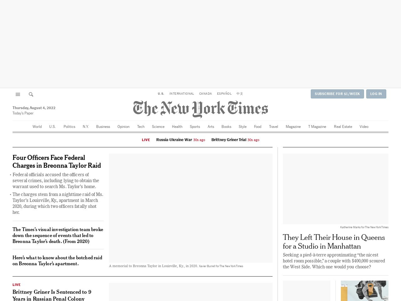 Screenshot of www.nytimes.com