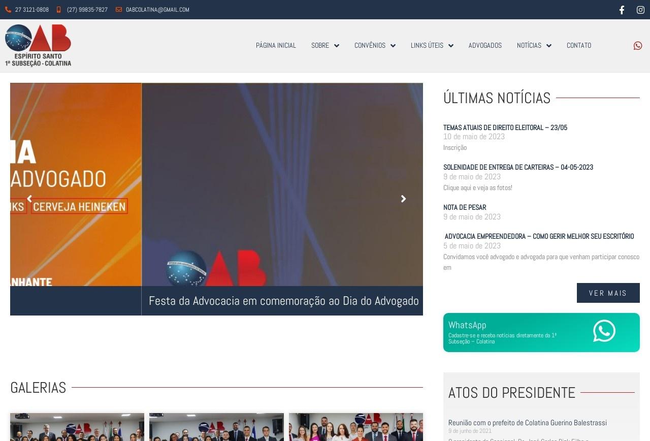 Screenshot of www.oabcolatina.org.br