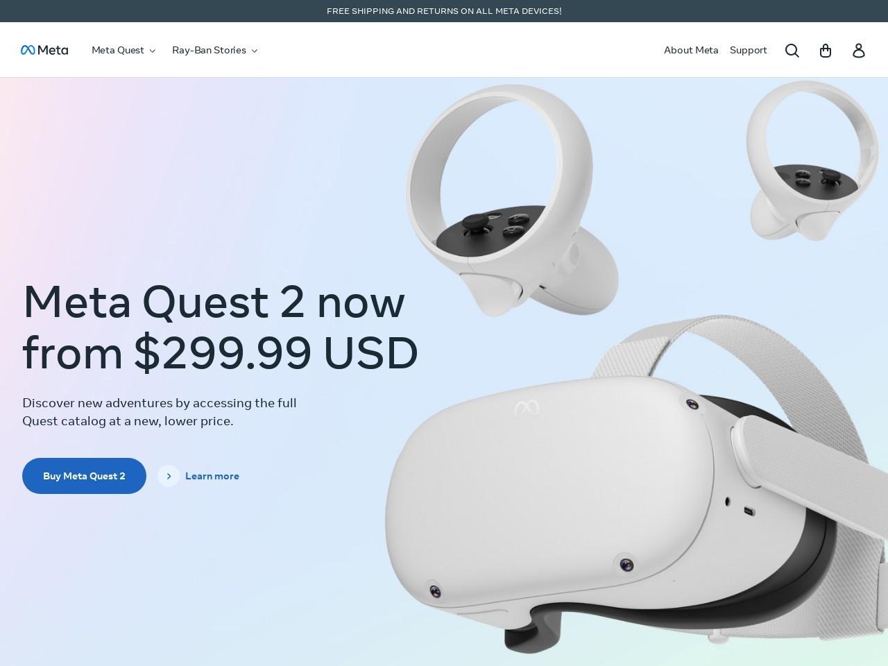 Captura de pantalla de www.oculus.com