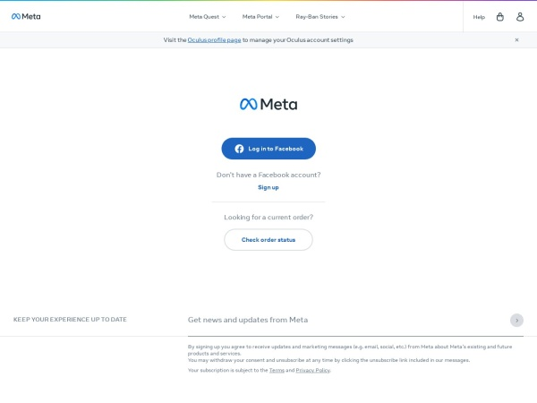 Screenshot of www.oculus.com