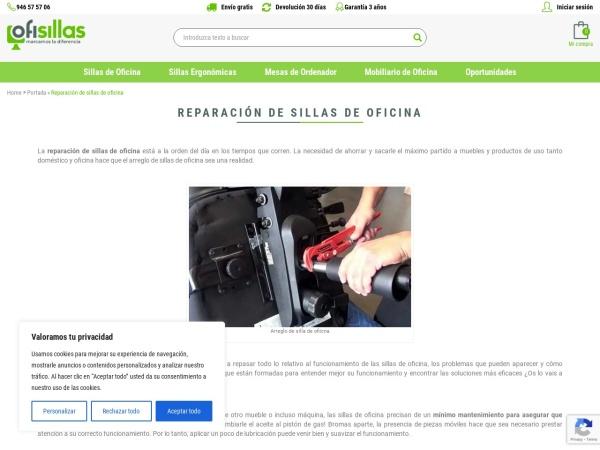 Captura de pantalla de www.ofisillas.es