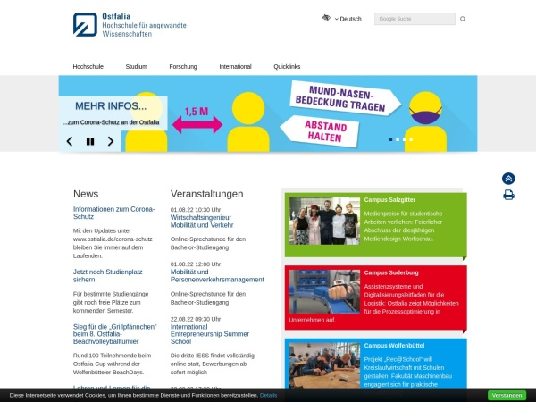Screenshot of www.ostfalia.de