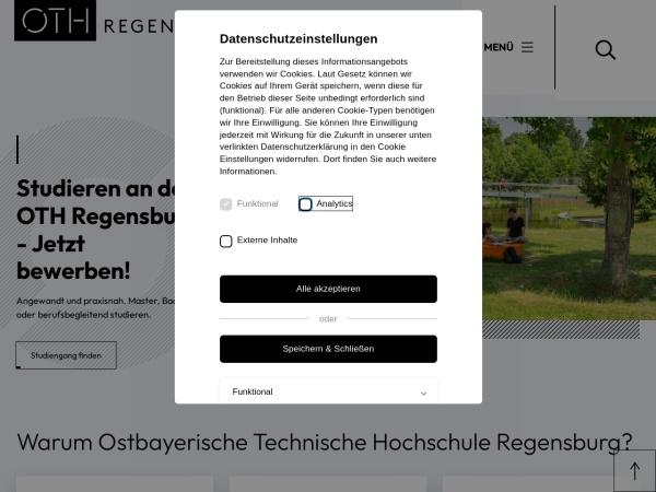 Screenshot of www.oth-regensburg.de