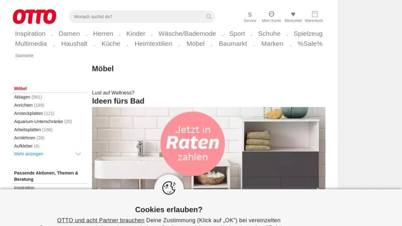 Screenshot of www.otto.de