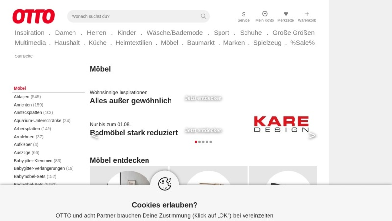 Screenshot von www.otto.de