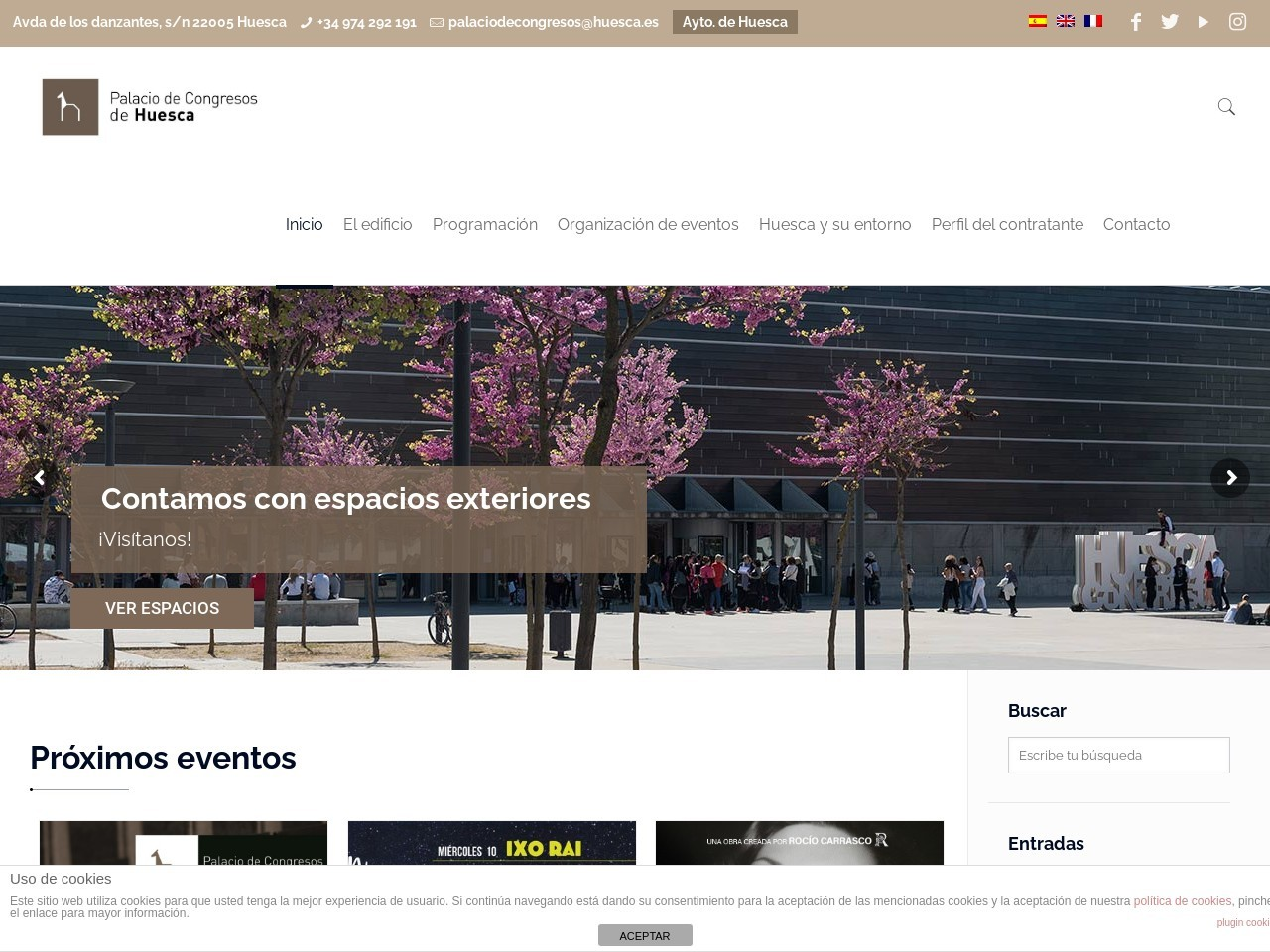 Captura de pantalla de www.palaciocongresoshuesca.es