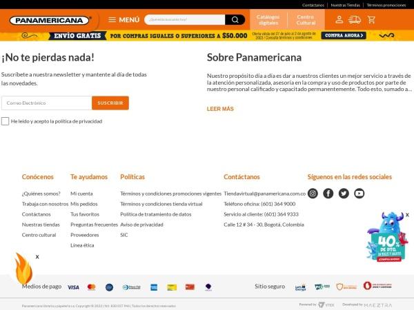Captura de pantalla de www.panamericana.com.co
