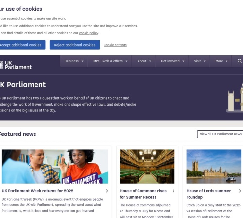 Screenshot of www.parliament.uk