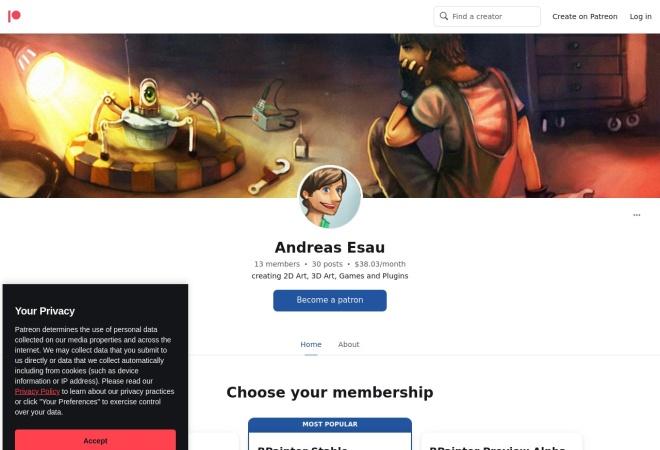 Screenshot of www.patreon.com