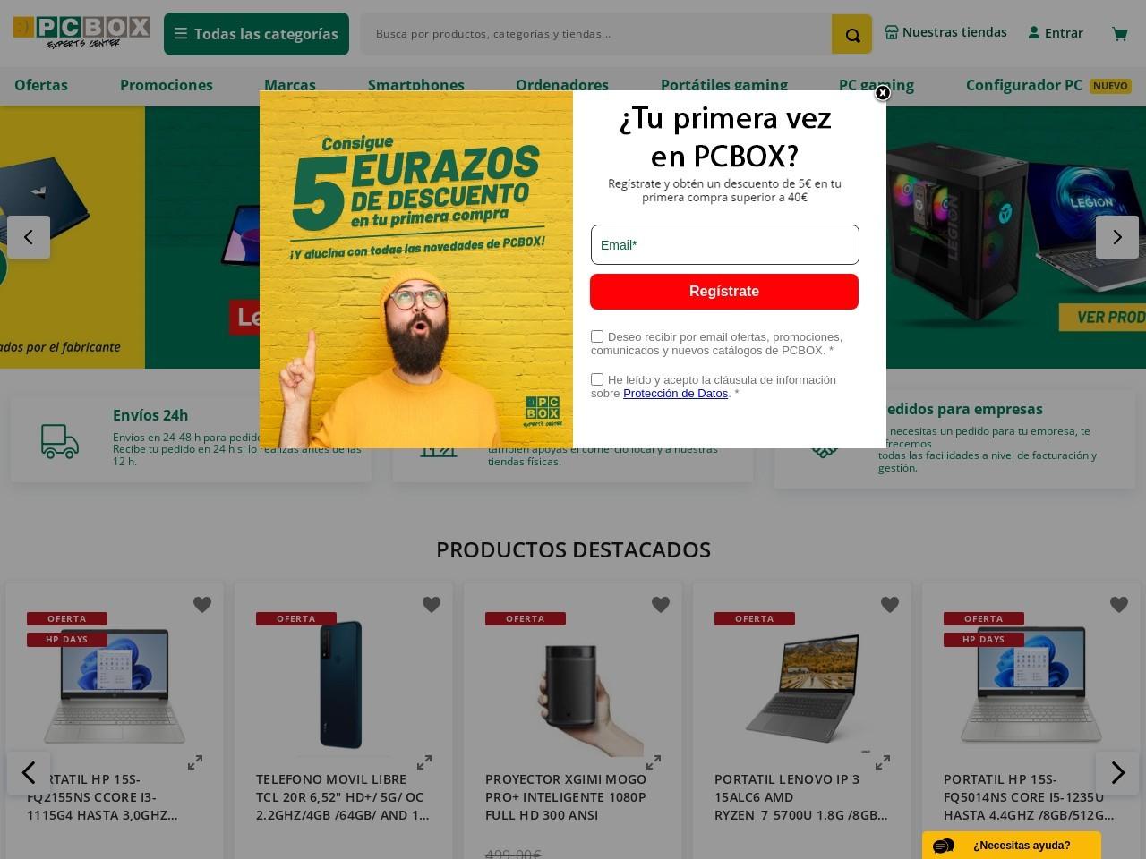 Captura de pantalla de www.pcbox.com